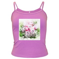 Flowers Bouquet Art Nature Dark Spaghetti Tank by Nexatart