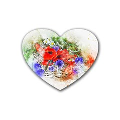 Flowers Bouquet Art Nature Heart Coaster (4 Pack)