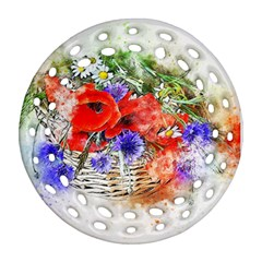 Flowers Bouquet Art Nature Round Filigree Ornament (two Sides)
