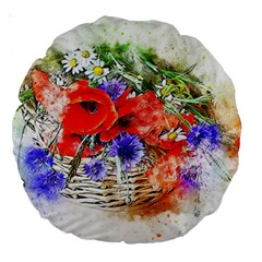 Flowers Bouquet Art Nature Large 18  Premium Round Cushions by Nexatart