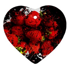 Strawberry Fruit Food Art Abstract Ornament (heart) by Nexatart