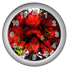Strawberry Fruit Food Art Abstract Wall Clocks (silver)  by Nexatart