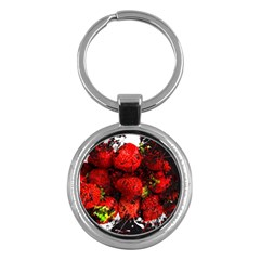 Strawberry Fruit Food Art Abstract Key Chains (round)  by Nexatart