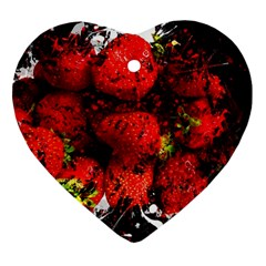 Strawberry Fruit Food Art Abstract Heart Ornament (two Sides) by Nexatart