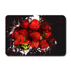 Strawberry Fruit Food Art Abstract Small Doormat  by Nexatart