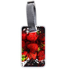 Strawberry Fruit Food Art Abstract Luggage Tags (one Side)  by Nexatart