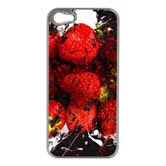 Strawberry Fruit Food Art Abstract Apple Iphone 5 Case (silver)