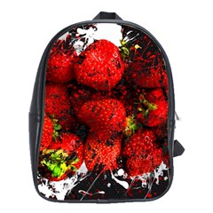 Strawberry Fruit Food Art Abstract School Bag (xl) by Nexatart