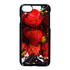 Strawberry Fruit Food Art Abstract Apple Iphone 8 Seamless Case (black) by Nexatart