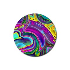 Background Art Abstract Watercolor Rubber Coaster (round)