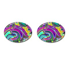 Background Art Abstract Watercolor Cufflinks (oval) by Nexatart