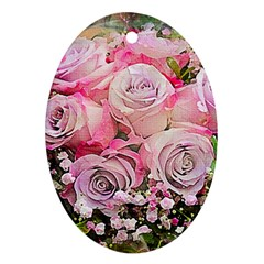 Flowers Bouquet Wedding Art Nature Ornament (oval)