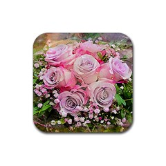 Flowers Bouquet Wedding Art Nature Rubber Coaster (square)  by Nexatart