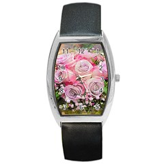 Flowers Bouquet Wedding Art Nature Barrel Style Metal Watch by Nexatart