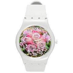 Flowers Bouquet Wedding Art Nature Round Plastic Sport Watch (m)