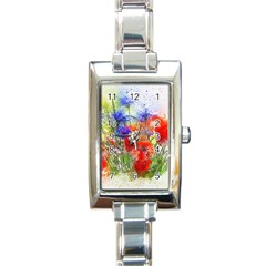 Flowers Bouquet Art Nature Rectangle Italian Charm Watch by Nexatart