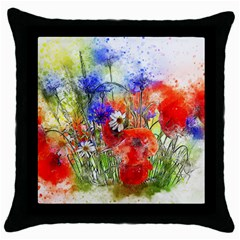 Flowers Bouquet Art Nature Throw Pillow Case (black)