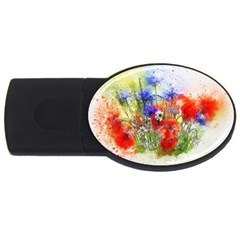 Flowers Bouquet Art Nature Usb Flash Drive Oval (4 Gb)