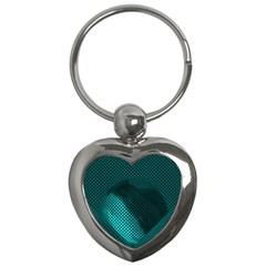 Background Sphere Ball Metal Blue Key Chains (heart)  by Nexatart