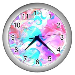 Background Art Abstract Watercolor Pattern Wall Clocks (silver)
