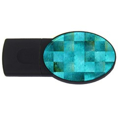 Background Squares Blue Green Usb Flash Drive Oval (4 Gb) by Nexatart