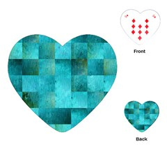 Background Squares Blue Green Playing Cards (heart)  by Nexatart