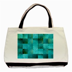 Background Squares Blue Green Basic Tote Bag