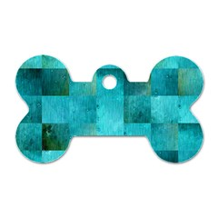 Background Squares Blue Green Dog Tag Bone (two Sides)