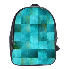 Background Squares Blue Green School Bag (large)
