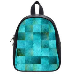 Background Squares Blue Green School Bag (small)