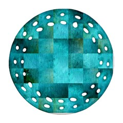 Background Squares Blue Green Round Filigree Ornament (two Sides) by Nexatart