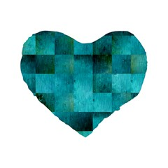 Background Squares Blue Green Standard 16  Premium Heart Shape Cushions