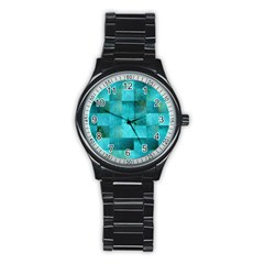 Background Squares Blue Green Stainless Steel Round Watch by Nexatart
