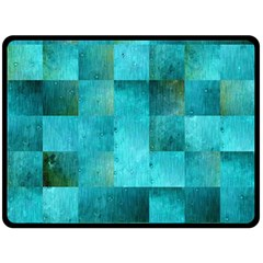 Background Squares Blue Green Double Sided Fleece Blanket (large)  by Nexatart