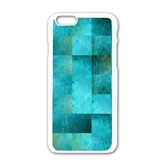 Background Squares Blue Green Apple Iphone 6/6s White Enamel Case by Nexatart