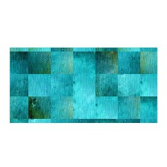 Background Squares Blue Green Satin Wrap