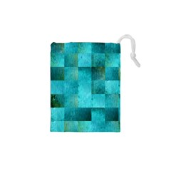 Background Squares Blue Green Drawstring Pouches (xs)  by Nexatart