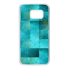 Background Squares Blue Green Samsung Galaxy S7 White Seamless Case