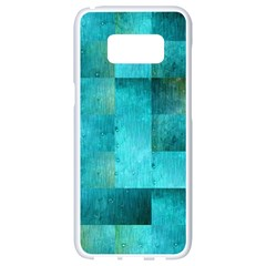Background Squares Blue Green Samsung Galaxy S8 White Seamless Case by Nexatart