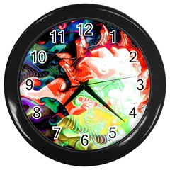 Background Art Abstract Watercolor Wall Clocks (black) by Nexatart