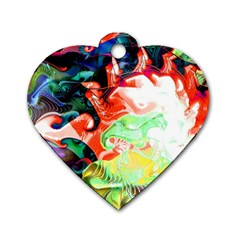 Background Art Abstract Watercolor Dog Tag Heart (one Side)