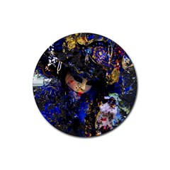 Mask Carnaval Woman Art Abstract Rubber Coaster (round)