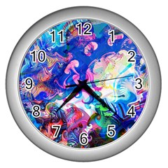 Background Art Abstract Watercolor Wall Clocks (silver)  by Nexatart