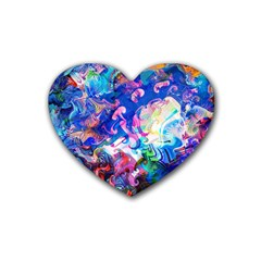 Background Art Abstract Watercolor Rubber Coaster (heart)  by Nexatart