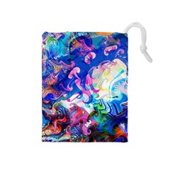Background Art Abstract Watercolor Drawstring Pouches (medium)