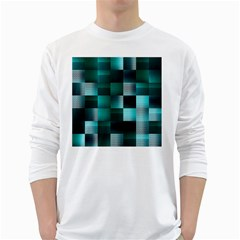 Background Squares Metal Green White Long Sleeve T Shirts