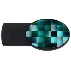 Background Squares Metal Green Usb Flash Drive Oval (4 Gb)