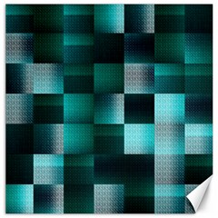 Background Squares Metal Green Canvas 16  X 16   by Nexatart