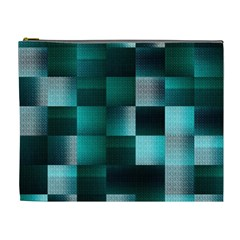 Background Squares Metal Green Cosmetic Bag (xl)