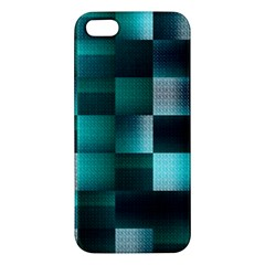 Background Squares Metal Green Apple Iphone 5 Premium Hardshell Case